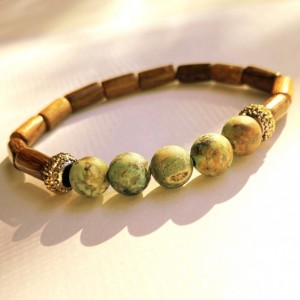 African Turquoise & Wood Bracelet
