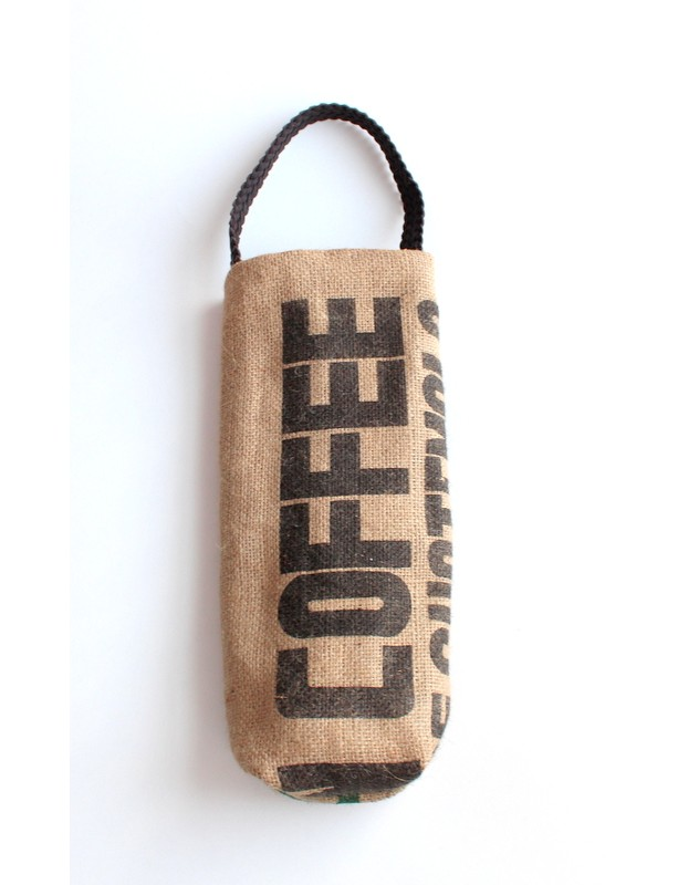 Upcycled Coffee Sack Wine Tote