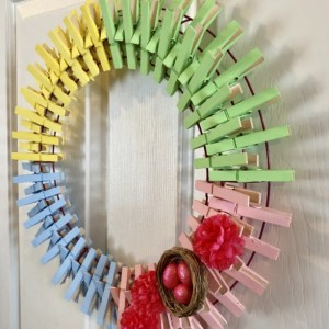 Easter Spring Pastel Clothespin Wreath with Eggs and Nest - Mum Wreath - Easter Egg Wreath - Handpainted Wreath - Spring Decor