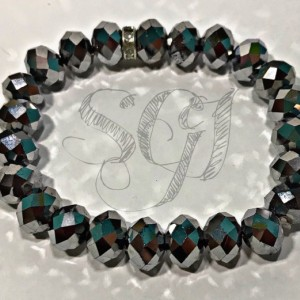 Multifaceted Glass Gun Metal Stretchy Bracelet