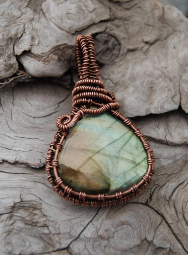 LABRADORITE PENDANT - Flashy Pear Shaped Stone Necklace