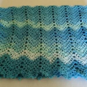 Baby Blanket Crochet - Crochet Afghan, Ripple Infant Blanket, Crib Blanket, Baby Bedding, Swaddle Blanket, Baby Shower Gift