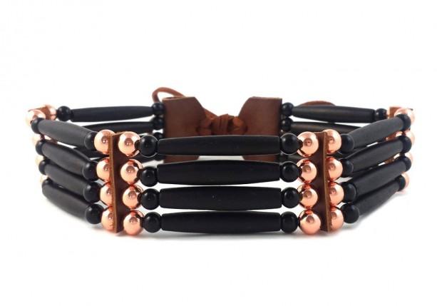 Handmade Black Traditional 4 Row Buffalo Bone Hairpipe Tribal Choker Necklace