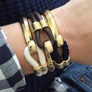 Navy Blue Rope Gold Half Hook Clasp Bracelet