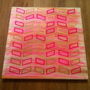 Geometric Gold Metallic and Pink Painting, Chevron Design, Home Decor, Wall Art