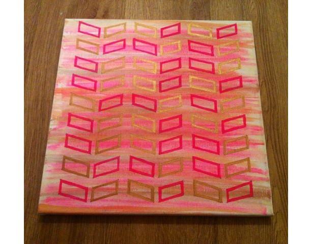 Geometric Gold Metallic and Pink Painting, Chevron Design, Home Decor, Wall Art