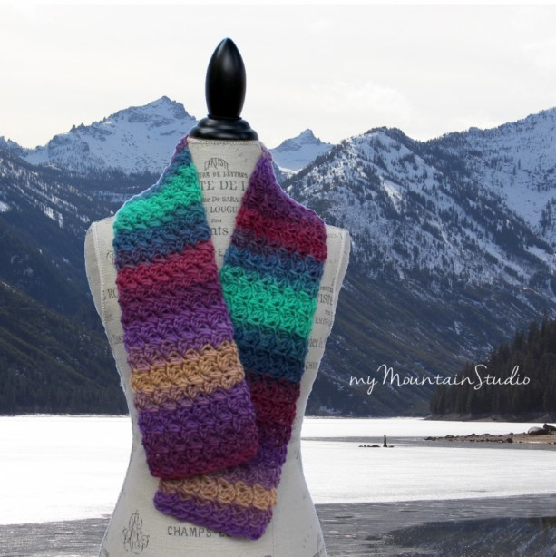 Kaleidoscope Ranch Wrap and Tuck Cowl Scarf - Handmade - Wool