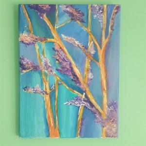 Oil Painting on Canvas- Small Art- Blue Purple Trees Landscape-Botanical- Sarah Floyd