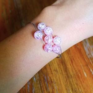Pink crackle glass bead bracelet, Three strand tiger tail bracelet