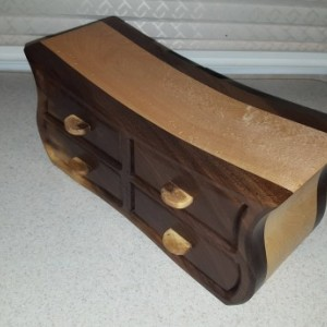 Bandsaw box made from claro walnut, birdseye maple,and plywood