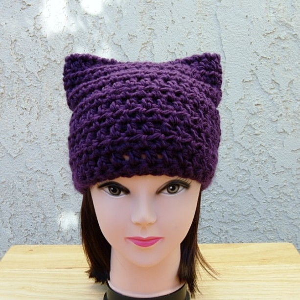 Solid Dark Purple Pussy Cat Hat with Ears, Soft 100% Acrylic Crochet Knit Warm Winter Women's March, Men's Beanie, Ready to Ship in 3 Days