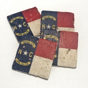North Carolina State Flag Natural Stone Coasters, Set of 4 with Full Cork Bottom