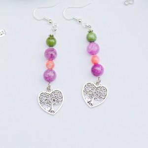 Silver tree charm earrings/Nickel Free/Pink-purple shell,Amethyst dyed quarzite,tibetan silver/Heart/Love/Earth/Colorful/Under 20 dollars