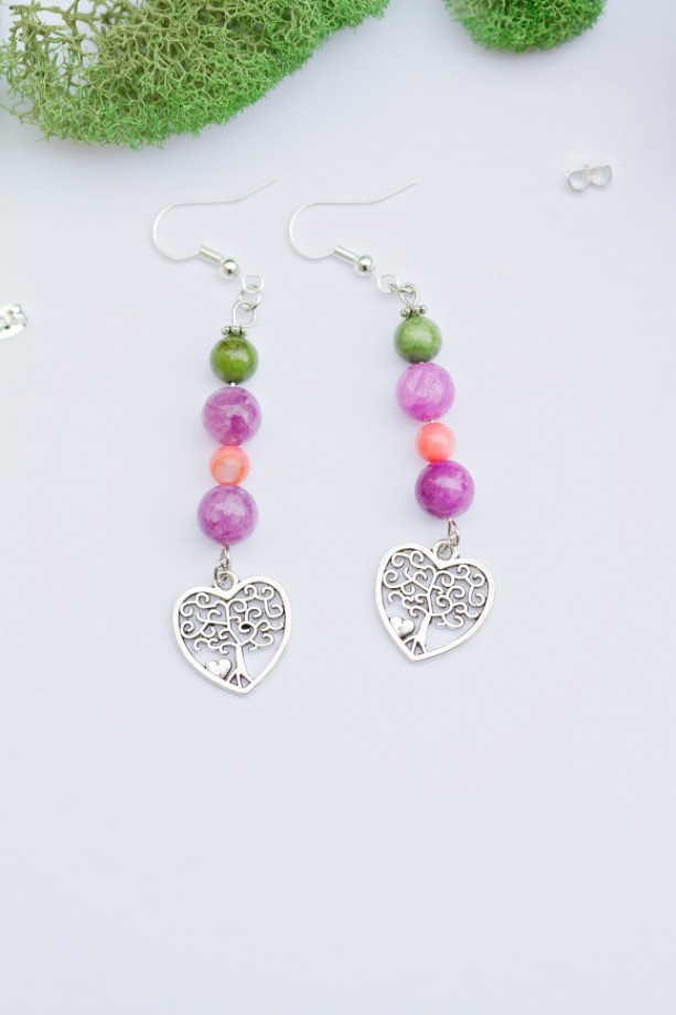 Silver tree charm earrings/Nickel Free/Pink-purple shell,Amethyst dyed quarzite,tibetan silver/Heart/Love/Earth/Colorful/Under 20 dollars