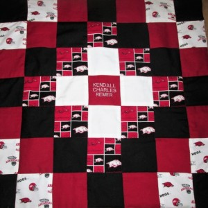 Brand New Handmade ARKANSAS RAZORBACKS Baby Quilt  (Embroidered Name Added Free)
