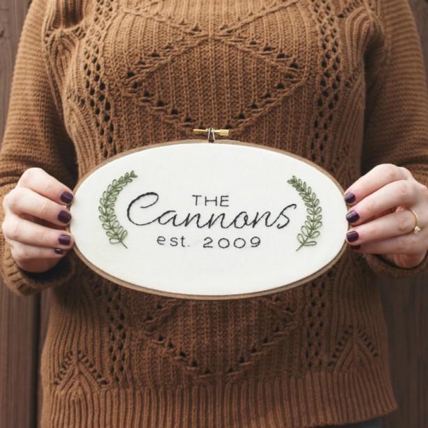 Custom last name embroidery hoop art aftcra