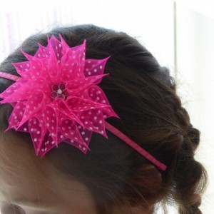 Organza pink flower handmade hairband/headband in Kanzashi technique