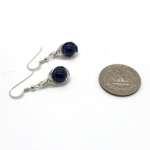 Sterling Silver Wire Wrapped 8mm Lapis Lazuli Earrings