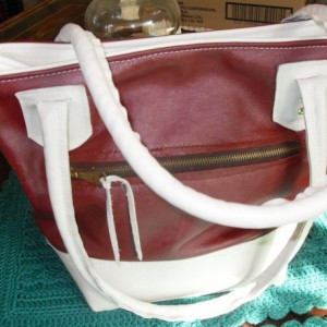 Hand made Leather Three Pocket Designer burgundy and cream bucket bag