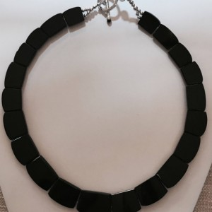 Natural,Cushion Cut Faceted  Onyx Necklace