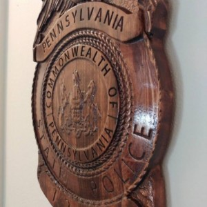 3D V CARVED - Personalized Pennsylvania State Trooper Police Badge V Carved Wood Sign
