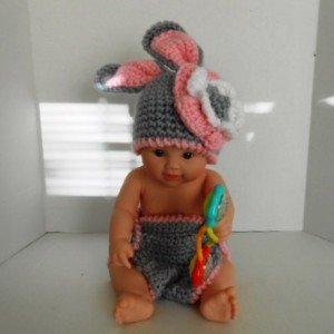 New Born Bunny Flower Hat and Diaper Cover Set by kam