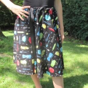Handmade Retro 1950's A-line Drawstring Skirt Kitchen Pattern Skirt OOAK Skirt