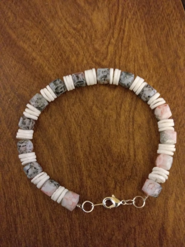 Black, Pink, and White Beaded Bracelet