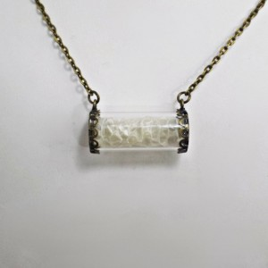 Oddities Vial White Snake Scales Necklace