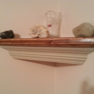 Crown molding corner shelf with stone finish