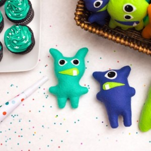 Set of 13 Adopt a Monster Plush | Mini Stuffed Monster Party Favor in Orange Blue Mint and Lime | Felt Monster | Monster Theme