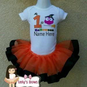 My 1st Halloween outfit, Halloween ribbon trimmed tutu set, Halloween tutu, orange and black tutu, Halloween trim tutu set, Halloween set