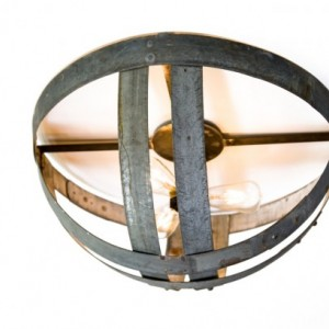 ATOM Collection - Hemisphere - Wine Barrel Flush Mount Light / handmade from retired California wine barrel rings - 100% Recycled!