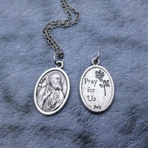 Personalized Silver Plated Apostle Peter Necklace. Patron Saint of fishermen