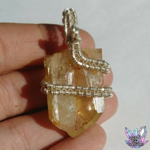 Citrine(Natural) Wire Weave Pendant / Citrine Point / Festival Jewelry / Natural Gemstone / Citrine Jewelry