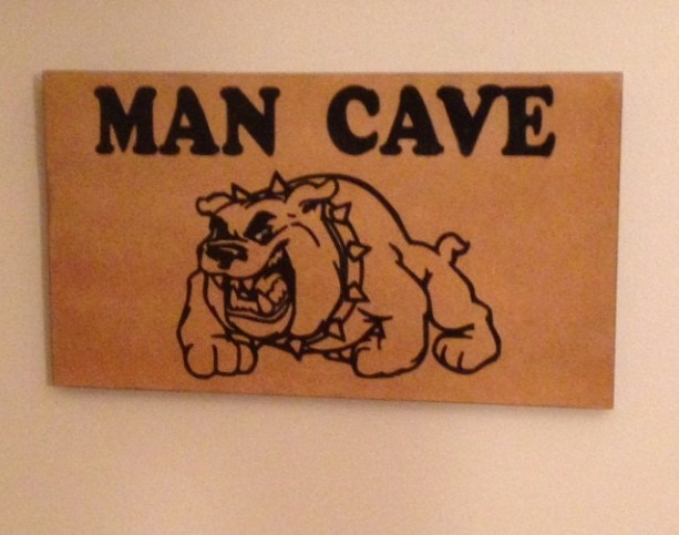 Man Cave MDF Wood Sign With Bulldog Picture