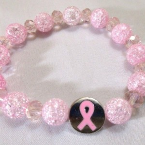 Beaded Bracelet Cancer Awareness Charm Pink Stretch Bracelet