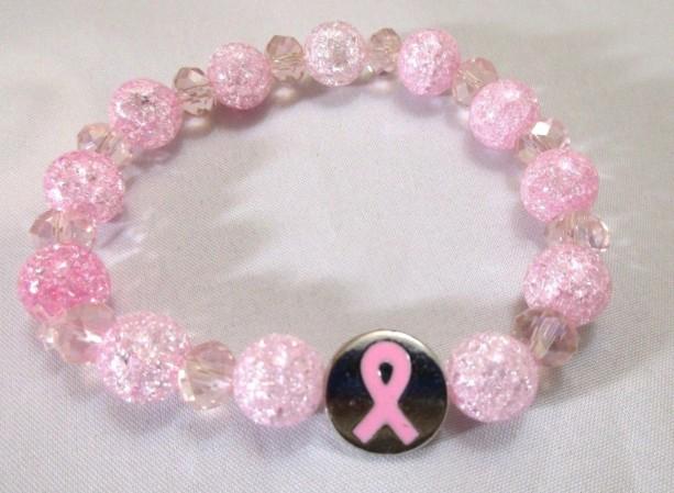 Beaded Bracelet Cancer Awareness Charm Pink Stretch Bracelet