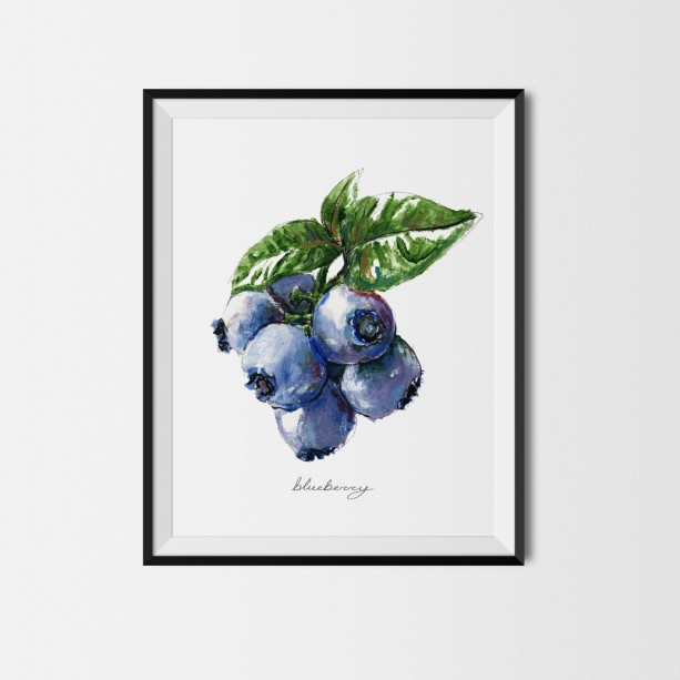 8x10 Blueberry Print, Food Art, Food Illustration, Handwritten Art, Kitchen  Decor,