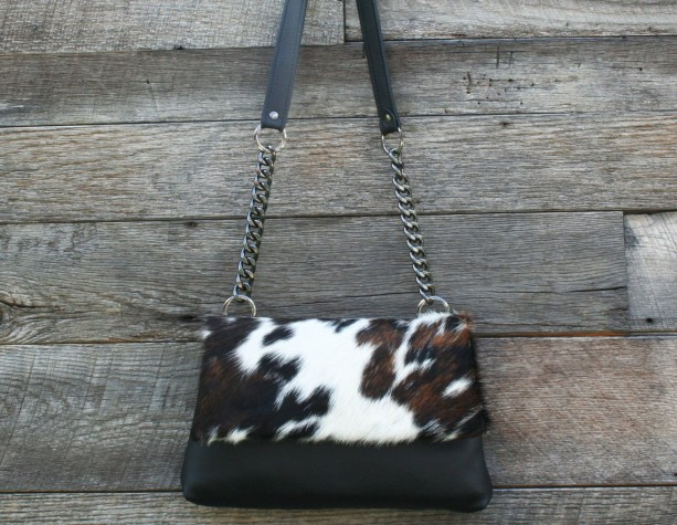 Cowhide & Black Leather Shoulder Bag - Abilene Handbag by Beaudin