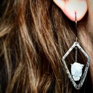Raw Quartz Crystal Sterling Silver Geometric Drop Dangle Earrings Rough Stone Rough Quartz Crystal Oxidized Hammered Silver