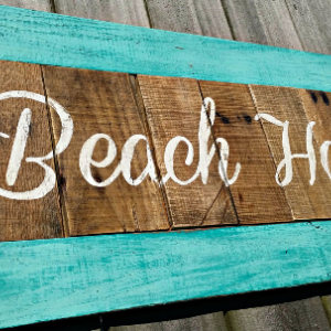 Handmade Distressed Shabby Chic Rustic Reclaimed Wooden Beach House Sign