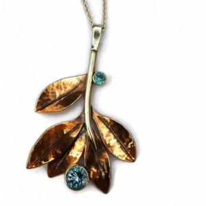 Periwinkle Gem Pendant with Blue Topaz and Zircom