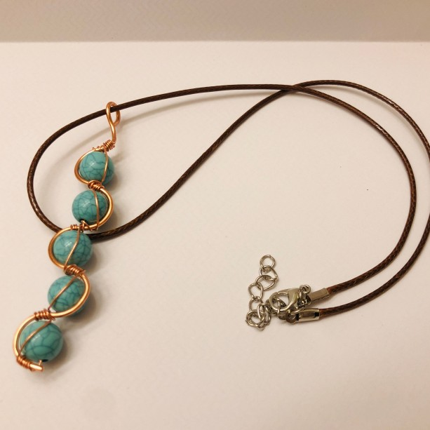 Turquoise and Copper Wire Wrapped Pendant Necklace