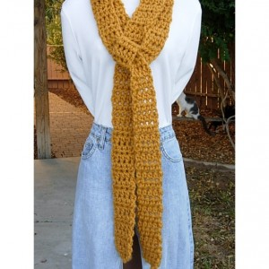 Extra Long & Skinny Mustard Scarf, More Color Options, Solid Yellow Soft Crochet Knit Narrow Chunky Thick Bulky Winter Women's Men's Wrap, Ready to Ship in 3 Days