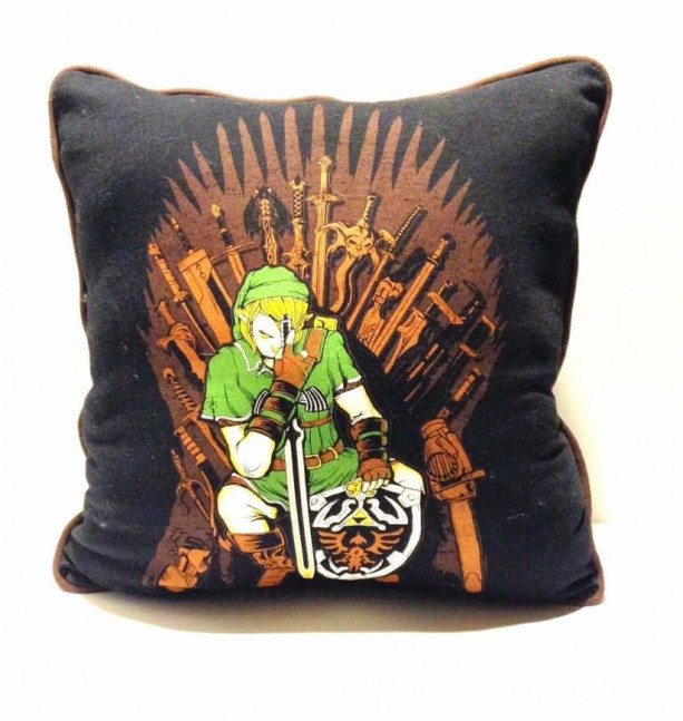 Link on the Iron Throne T-shirt throw pillow