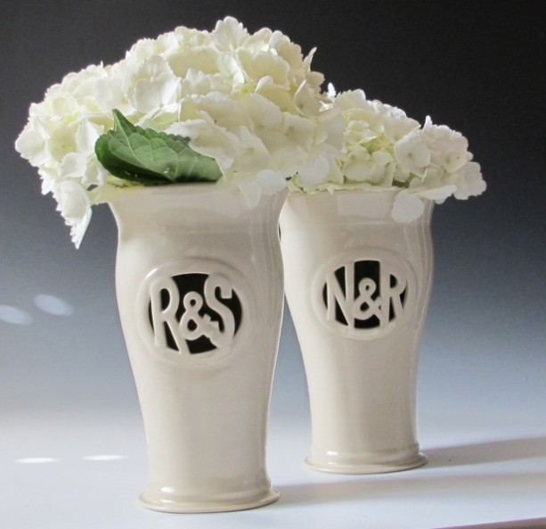 Tall Monogram Vase with Ampersand