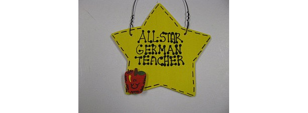 Teacher Gifts Yellow Star w/Apple All Star German Teacher