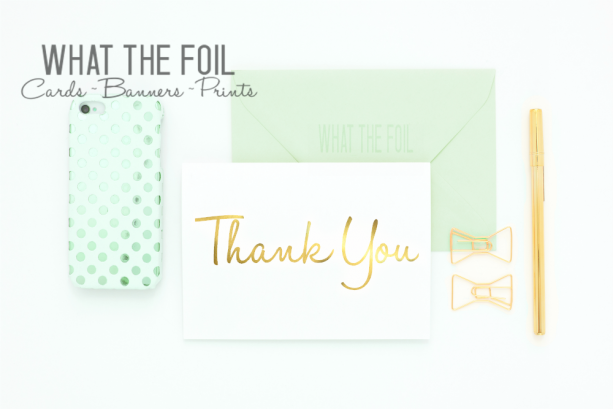 Thank You Foil Card - Pack of 6 - Blank Inside - Choose Your Own Color