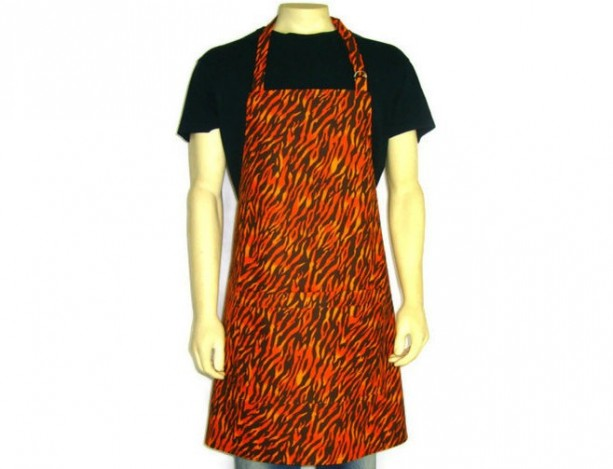 Orange Flame Apron for Men ,  Adjustable Tiger Stripe Chef Apron , Kitchen Decor